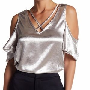 Elodie Silver cold shoulder top